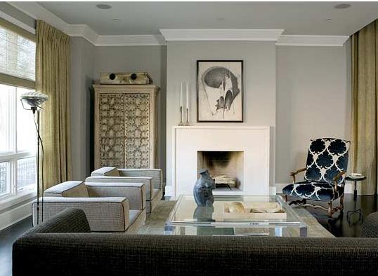 Cinza, Azul e Camelo fazem desta sala um ambiente sofisticado e atemporal